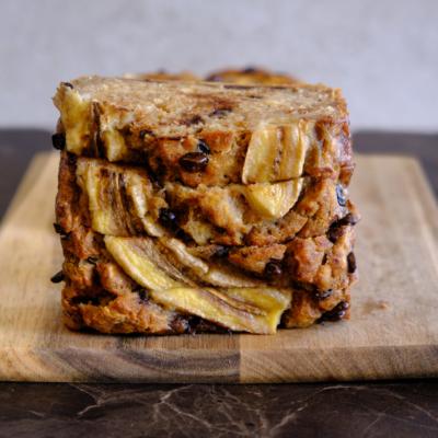 Homemade healthy banana bread slice